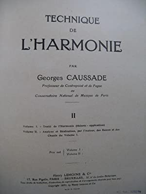 CAUSSADE Georges Technique de l'Harmonie Vol 2 1947