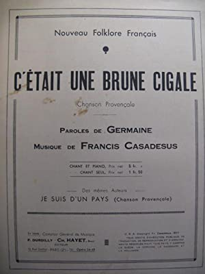 CASADESUS Francis Brune Cigale chant piano 1937