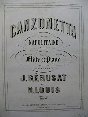 REMUSAT Jean & LOUIS N. Canzonetta Napolitaine Flûte Piano ca1860