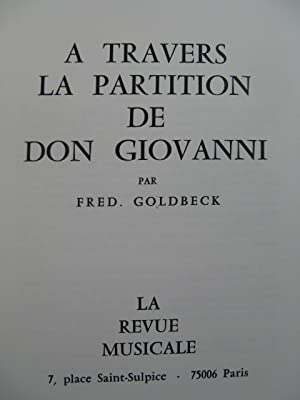 GOLDBECK Fred. A travers la Partition de Don Giovanni 1979