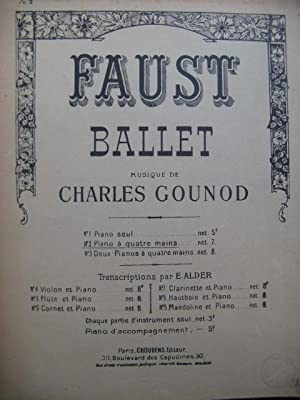 GOUNOD Charles Faust Ballet pour Piano 4 mains 1929