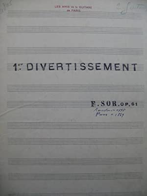 SOR Ferdinand 1er Divertissement 2 Guitares Manuscrit