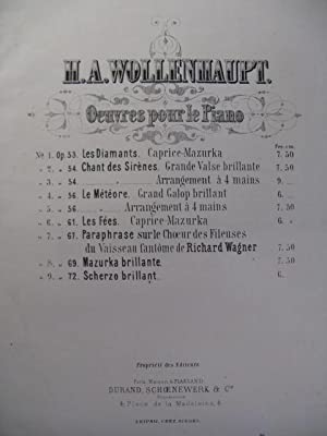 WOLLENHAUPT H. A. Scherzo Brillant Piano 1868: WOLLENHAUPT H. A.
