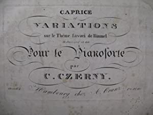 CZERNY Charles Caprice et Variations Himmel Piano ca1825