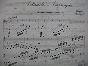DE MARANGUE Edouard Intermède Impromptu Manuscrit Piano 1905