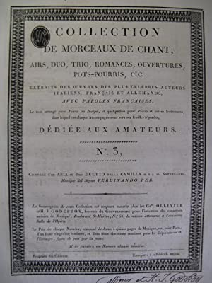 Collection de Morceaux de Chant n° 3 Chant Harpe ou Piano ca1805