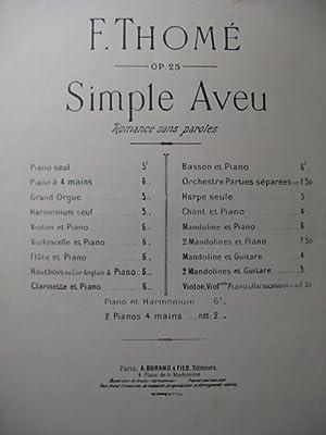THOMÉ Francis Simple Aveu Piano: THOMÉ Francis Simple