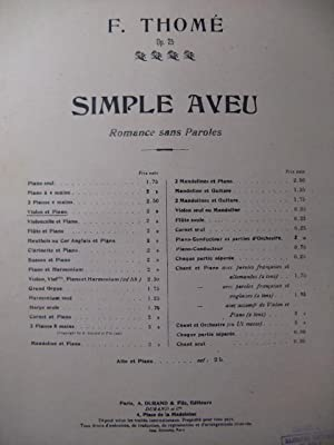THOMÉ Francis Simple Aveu Violon Piano: THOMÉ Francis Simple