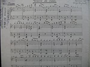 DUJARDIN Georges Dame de Coeur Manuscrit Accordéon 1947