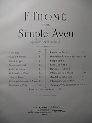 THOMÉ Francis Simple Aveu Piano 1877