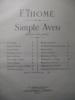 THOMÉ Francis Simple Aveu Piano 1877: THOMÉ Francis Simple