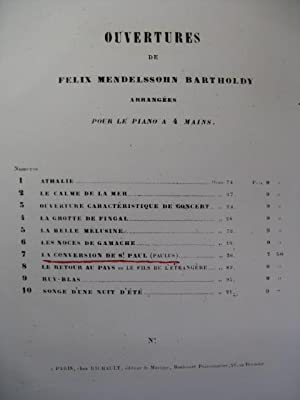 MENDELSSOHN La Conversion de St Paul Ouverture Piano 4 mains 1845
