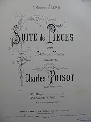 POISOT Charles Andante et Final Piano Violon 1887