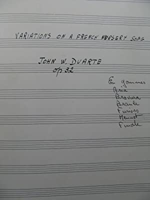 DUARTE John Variations on a French Nursery Song Manuscrit 2 Guitares