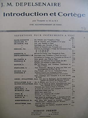 DEPELSENAIRE Jean-Marie Introduction et Cortège Trompette Piano 1958