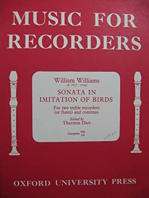 WILLIAMS William Sonata in Imitation of Birds Piano 2 Flûtes à bec
