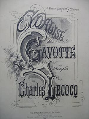 LECOCQ Charles Cydalise Gavotte Dédicace Piano 1885