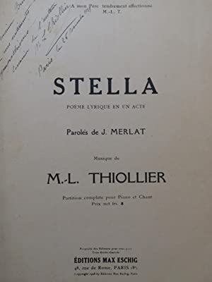 THIOLLIER Marie-Louise Stella Opéra Dédicace Chant Piano 1928