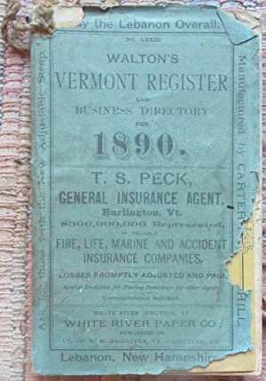 WALTON'S VERMONT REGISTRY and Business Directory 1890.: WALTON.