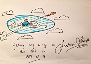 Framed SIGNED DOODLE: Day Of The Jackal Author :'Getting My Wings In The RAF in 1958 at 19.&#...
