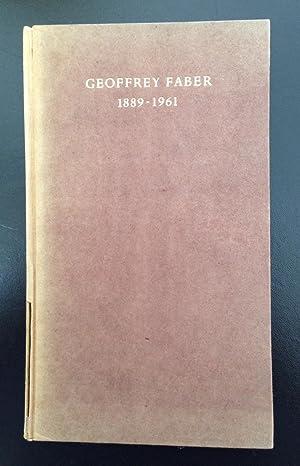 Geoffrey Faber 1889 - 1961: Eliot, T.S.