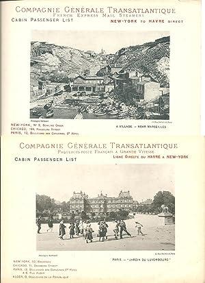 Lot de 18 Cabin Passenger Lists de: Compagnie Générale Transatlantique