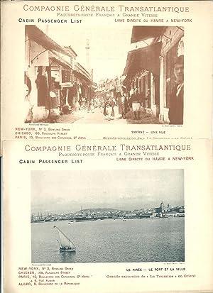 Lot de 19 Cabin Passenger Lists de: Compagnie Générale Transatlantique