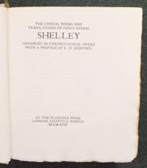 The Lyrical Poems and Translations of Percy: SHELLEY Percy Bysshe