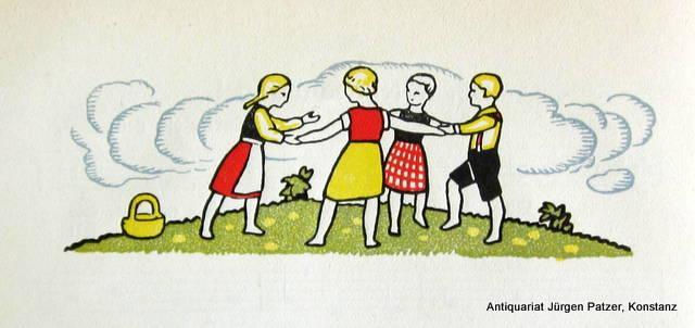 Bern, Staatlicher Lehrmittelverlag, 1928. Kl.-8vo. Mit farbigen Illustrationen von Ernst Linck. 98 S., 1 Bl. Schlichter Or.-Lwd.