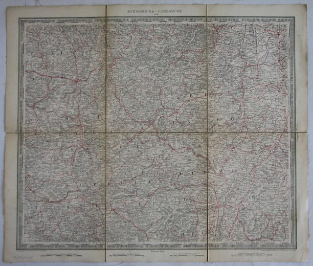 Lithographierte Karte im Maßstab 1:500.000 mit rot: Woerl, J. E.