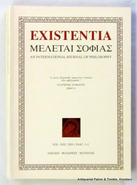 An International Journal of Philosophy. Vol. XIII, Fasc. 1-4 in 2 Bänden. Szeged, Budapest u. Münster 2003. Mit 2 Farbtafeln. 319 S. Or.-Kart. (ISSN 12155950).