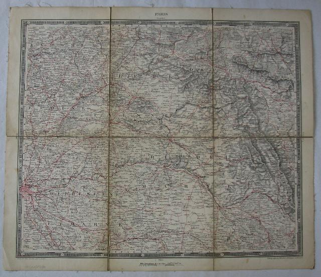Lithographierte Karte der Region zwischen Paris und: Woerl, J. E.