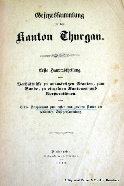 Erste Hauptabtheilung, Erstes Supplement zum ersten u.: Gesetzessammlung für den