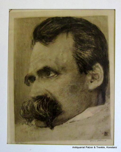 Friedrich Nietzsche auf dem Krankenlager. Orig.-Radierung (1899).: Nietzsche. -- Olde,