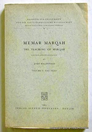 Memar Marqah. The Teaching of Marqah