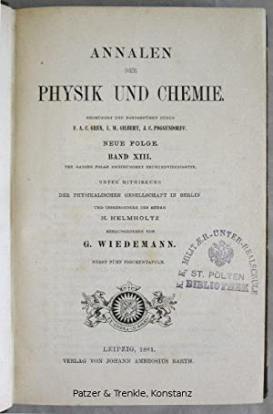 Herausgegeben von G. Wiedemann. Neue Folge Bd.: Annalen der Physik