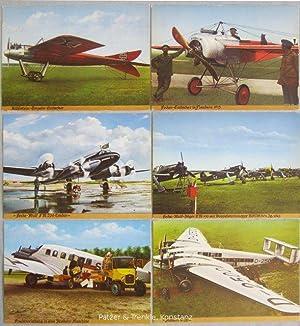 6 Farbpostkarten nach handkolorierten Vorlagen. Frankfurt, Michel,: Flugzeuge 1915-1945.