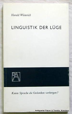 Linguistik der Lüge. Heidelberg, Lambert Schneider, 1966. 79 S. Or.-Brosch.; Rücken gebr&...