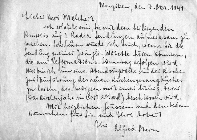 Eigenh Brief Mit Ort Datum Und Untschrift Von Stern Alfred