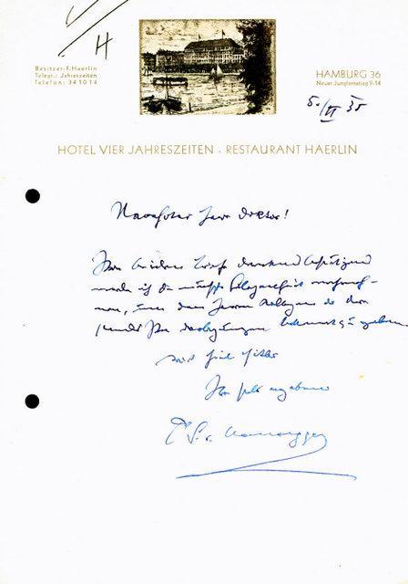 Eigenh Brief Mit Ort Datum Und Unterschrift Von Hausegger