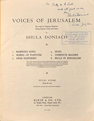 Voices of Jerusalem. Six songs for soprano, baritone, string quartet, oboe and piano. Vocal score