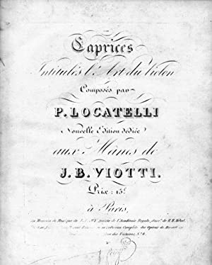 Caprices intitulés l`Art du violon composé par: Locatelli, Pietro: