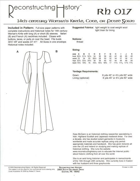 RH017: 14TH CENTURY WOMEN'S KIRTLE, COTE OR