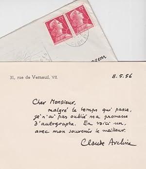 Carte manuscrite signée à Manuel van Loggem,: AVELINE, Claude