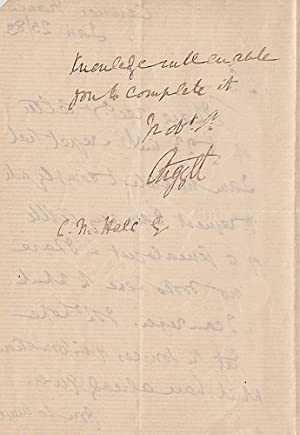 Autograph Letter Signed to C.N. Hale, dated 'Cannes France/ Jan 23/83'.: ARGYLL, George ...