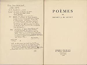 Poèmes.: LEVET, Henry J.-M.