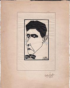 Portret van D.A.M. Binnendijk. Originele inkttekening. 14,5 x 9,4 cm. Gesigneerd 'Wybo Meyer.&...