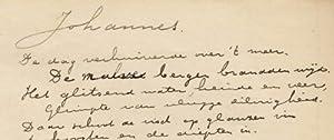 Johannes'. (Origineel handschrift van de dichter, afkomstig uit de nalatenschap van Wilma ...