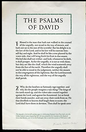 Psalms of David - Keepsake presentation at a Roxburghe Club Meeting