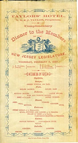 Complimentary Dinner to the Members of the New Jersey Legislature, Thursday, February 7, 1867 [si...